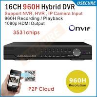 16channel 960H Video surveillance security wifi camera HDMI 1080P 16ch Hybrid DVR NVR ONVIF CCTV video DVR Recorder,HI3531 chips
