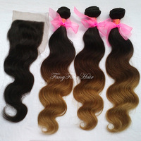 peruvian remy hair body wave 1b#/4#/27# 3pcs Ombre hair extensions +1pcs lace Closure ,lace closure with bundles  free shipping