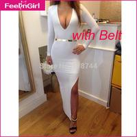 Plus Size XXXL 2014 New Sexy White Bandage Long Sleeve Party Dress Bodycon Maxi Pencil Dress Autumn Dress Alibaba Express