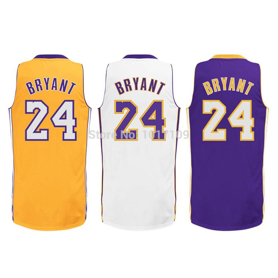 Kobe Bryant #24 basketball trikot weiß gelb lila farbe stickerei logos versandkostenfrei