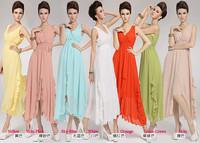 2014 New fashion clothing S M L XL Bohemian V Neck Chiffon Cocktail Long Beach Dress Asymmetrical Sundress