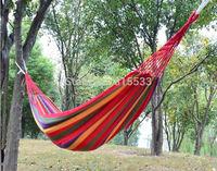 Free shipping Canvas 280 X 80cm Single hammock tourism camping hunting Leisure Fabric Stripes swing garden thickening hammocks