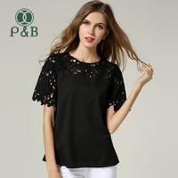 S-XXL XXXL 4XL 2014 Summer Fashion Plus Size Women Lace Blouse