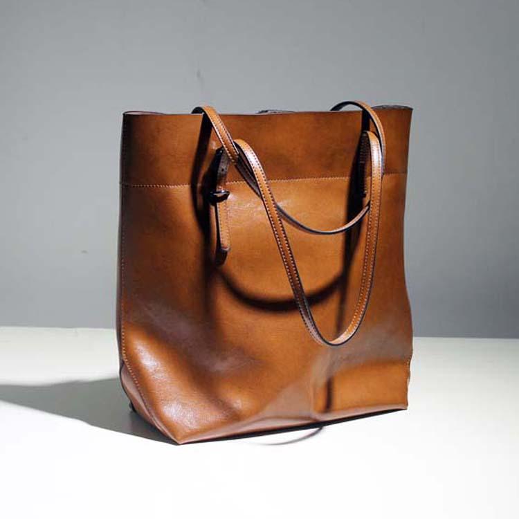 fashionable casual black shoulder bags big cowhide leather oil waxing women's bag genuine leather handbag(China (Mainland))
