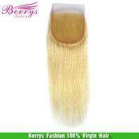"Brazilian virgin hair Lace closure 613# straight weave bleached knots extension(4""*4"") ali Beautiful Berrys Fashion  Hair"