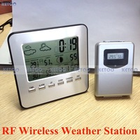RF Wireless Weather Station Alarm Clock Indoor/Outdoor Thermometer with Color Backlight