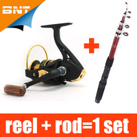 Fishing Rod AND12BB 1000 Reel / lot,  Lure Fishing Reels spinning reel  Fish Tackle Rods Carbon Ocean Rock (Lure As Free Gift )
