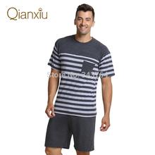 Qianxiu Brand Pajama Summer Modal  Men pajama Set Women Sleepshirts Couples stripesSleepwear  home wear Free Shipping(China (Mainland))