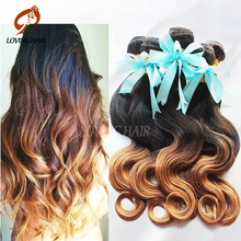 Ombre Brazilian Virgin Hair Body Wave New Star Hair Products Ombre Hair Extensions Three Tone 3Bundles 1B 4 #27 Human Hair Weave(China (Mainland))