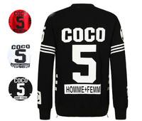 2014 New Women Man Tops Coco No 5 Sweatshirt  Unisex Sweatshirt  homme femme Pullover Crewneck Hoodie Side Zipper Sportwear