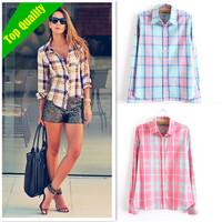 High Quality  fashion tops blouse for women blouse Colorful Long Sleeve 100% Cotton blouse  ladies plus size plaid women blouses