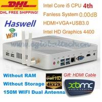 Fanless Mini PC 3 Years Warranty Barebone i5 PC Micro Computer Haswell Intel Core i5 4200U 4K HD HTPC TV Box DHL Free Shipping