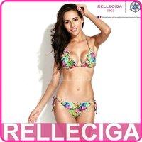 RELLECIGA OZ Collection - High Contrast Jungle Print Bikini Swimwear with Ruffle-trim Triangle Top & Brazilian Cut Scrunch Butt