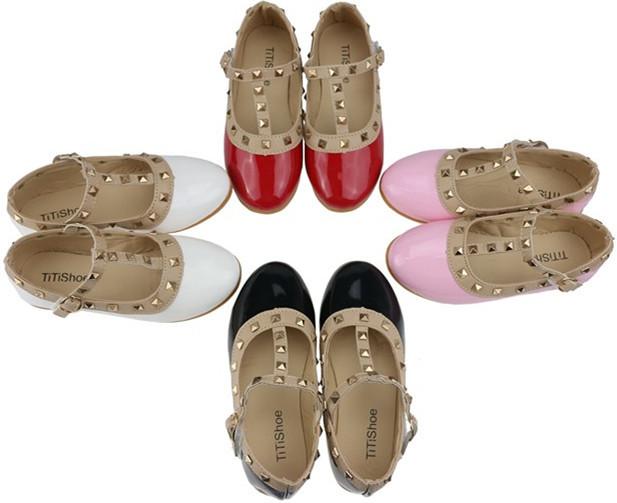 Hot Children Princess Flat Shoes Children Girls Rivets Single Shoes Kids Leather Shoes Girls Shoes EU22-34(China (Mainland))