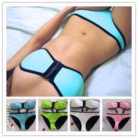 2014 Women's Bright Color Zipper Swimwear Neoprene Bikini Neoprene Swimsuit Neon Bikini Set Bandeau Neoprene Beadeau bikini S-XL