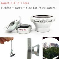 3 in 1 180 FishEye Lens + Macro Lens + Wide Lens For All Mobile Phones Digital Camera