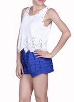 2014 Hot tank top shorts women flower cutout laciness rivets camisole vintage crop tops chiffon roupas femininas b8 SV003652
