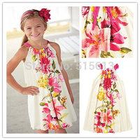 Top quality 2014 New hot Summer children clothing,girls Floral Drawstring Dress,2-8Y Baby kid clothes,Raymon print fresh flower