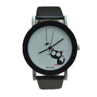 2014 new fashion good high quality women children girl lady funny spider cat dress japan quartz wrist Watch Wristwatch hour