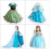 1PCS,2014 new luxury Frozen clothes elsa princess dress Elsa dresses Costume kids girls Dress party dreeese free