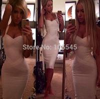 2014 new white blue red beige yellow strap women fashion sexy elegant midi bandage party evening Dresses  J543  below knee