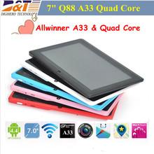 Nuevo barato 7 pulgadas Q88 A33 quad core Tablet PC pantalla capacitiva Android 4.4 Tablet 512 M 8 G de doble cámara de Allwinner A33 de la tableta(China (Mainland))