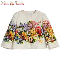 Top Quality 2014 new designer children cloak coat, brand babi coat winter girl, floral kids outerwear girls jackets, 2-12Y