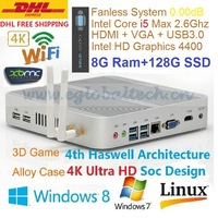 HTPC Living Room Computer Mini PC Windows Linux With 8GB Ram 128GB SSD Intel Core i5 4200U Support XBMC 3D Game 4K HD Fanless PC