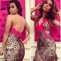 Sunnyfair 2014 fashion women ladies red flower lace leopard print transparent gauze back sexy slim Women dress