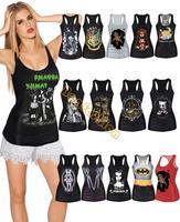 Hot 15 Colors Summer Womens Ladies Punk Style 3D Painting Skull bone Camisole Print Pattern Vest Tanks Tops B6