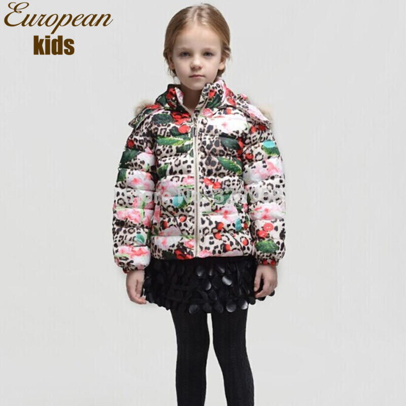 Nuovo arrivo 2014 ragazzi inverno ragazza mani stampa leopardo, marca giacca con cappuccio di spessore giù& piuma 2-10y bambini outerwear