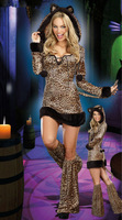 1pcs New Leopard sexy lingerie hot Halloween sexy ladies wild Siamese cat leopard cat girl cosplay costumes Catwoman party