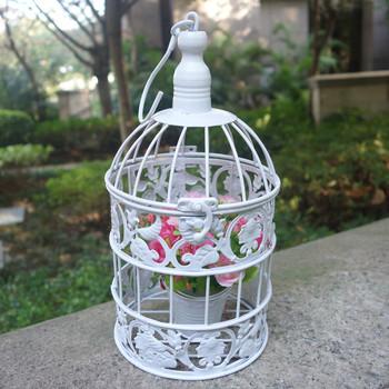 Ручной малый металл клетка старинные железа белые свадебные декоративные птичьей клетке для домашнего декора