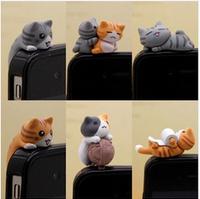 wholesale-17pcs Different style high-quality  3.5mm  Animated cartoon  Sweet cat Tail cat dust plug earphone jack plug