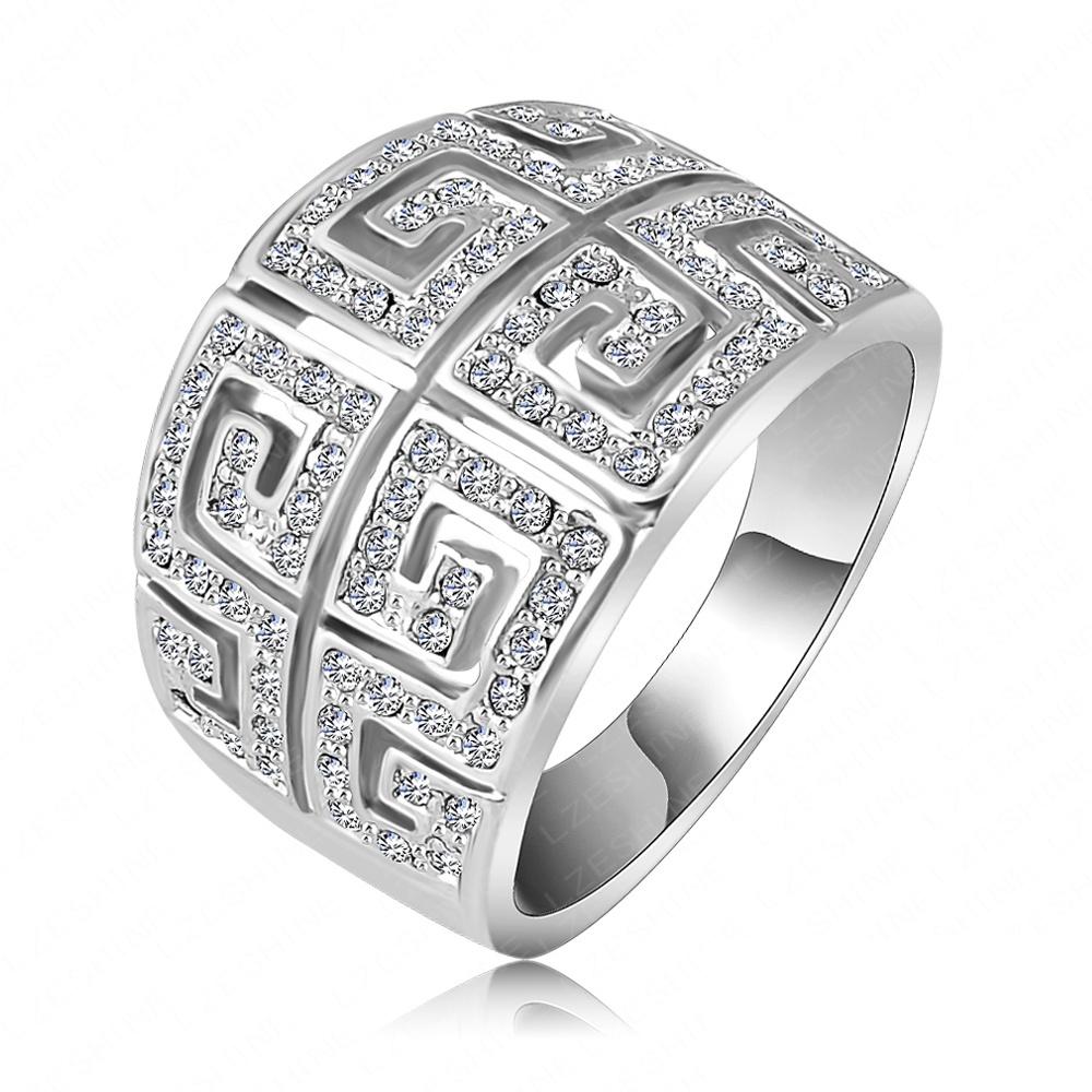 LZESHINE Brand Ring Vintage Retro Letter G Ring 18K Rose Gold Plated SWA Elements Austrian Crystal Ring Free Shipping Ri-HQ1019(China (Mainland))