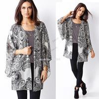 fashion women Spain style chiffon kimono cardigan Regular Floral print blouse/mujer ropa camisas femininas blusas de gasa b6