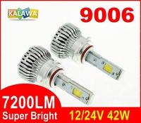 7200LM!!! 9006 42W 4th Generation Auto car Led headlight fog lamp Double COB chip 360 degree super bright 6000K FREESHIPPING GGG