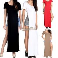 Women dresses 2014 Summer long dress side split tee shirt bodycon maxi shirt dress Party Gypsy Dress B2# SV005973