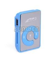 2014 NEW Free Shipping Mini Clip Mp3 Player/Sport Mirror Mp3 SD/TF Card C Button MP3 Music Media Blue #7 SV004796