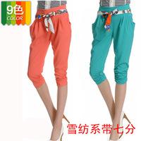 New 2014 fashion women pant waist chiffon lace leggings summer fashion big yards harem pants capris 1059 0.12kg