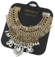 Layered Punk Style Gold Jewel Rivet Pendant Bib Collar Statement Necklace 2014 Brand New