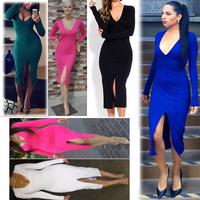 S-XXXL Plus Size 2014 New Winter Fashion Vestidos Pink Long Sleeves Women Autumn Dresses Bodycon Ladies Evening Party Gowns 2014