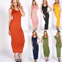 2014 Women Summer Dress 2014 Solid Colour Strap Long Maxi Bodycon Pencil Dress Celeb Party Casual Dress Vestidos B16 SV008573