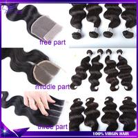 Peruvian virgin hair body wave 3pcs human hair bundles with 1pc lace closure ms lula hair peruvian body wave silk based closure