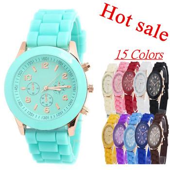 Женева свободного покроя часы женщины платье часы 2015 кварц военные силиконовые часы унисекс наручные часы спортивные часы relogio feminino