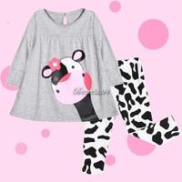 Kid Winter Clothes Hot Sale Children Baby Girls Clothes Set Little Cow Long-Sleeved T-Shirt+ Pants Suit Tracksuit Sv18 Sv008283