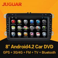 8inch Android 4.2 2din Car DVD For Volkswagen VW  POLO PASSAT CC JETTA TIGUAN TOURAN Bora Touareg GOLF 5 6 7 4  GPS Radio