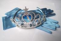 2014 Kid Girl NEW Frozen Elsa Anna Dress Up Gloves & Tiara Crown Set for Costume Cosplay Christmas Xmas gift