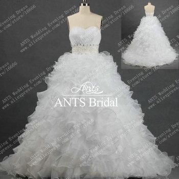 Modest Ruffles Organza Wedding Dress 2013 White Ball Gown Bridal Dress with Bling Designer Beaded Crystals Belt  ML429