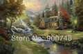 Thomas Kinkade Original Landscape Oil Painting ( Mountain Paradise ) Art Print On Canvas Natural Scenery Home Decoration